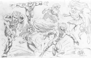 New Titans: Zero Hour Final Pencilled Artwork. Comic Art